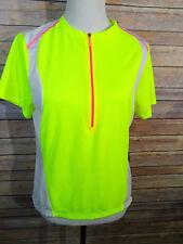 NWT Nishiki Bike top Lime green pink and white short sleeve LG (T1)