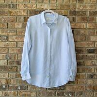 Vineyard Vines Women's Linen Button Down Blue White Striped Shirt Size 8 EUC