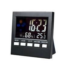 HTC-1 Digital LCD Hygrometer Temperature and Humidity Meter Clock Alarm NEW
