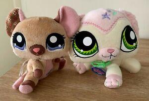 LPS Littlest Pet Shop Lot of 2 Plush Soft Toys Bunny VIPs + Mouse Hasbro 18cm