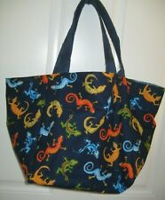 Colorful lizards, gecko: tote bag, beach or shopping; Navy blue; Made in USA