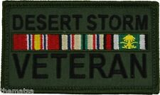 DESERT STORM VETERAN RIBBONS OD GREEN 2 X 3 EMBROIDERED PATCH WITH HOOK LOOP