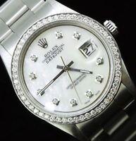 Rolex Mens Datejust Oyster Perpetual  Diamond Dial Diamond Bezel Oyster Watch