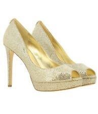 MICHAEL KORS UK 4.5 M Erika platform pumps gold glitter fabric with Peep toe