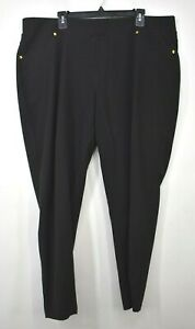 Michael Michael Kors Womens Black Elastic Waist Pull-On Slim Fit Slacks Pants 3X