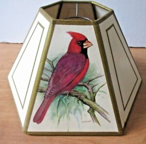 Hex Chimney Style Lampshade with Bird Motif and Gold Trim  (12 Inch)