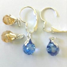 4 Crystal earring charms & 2 Interchangeable Lever back Silver Pated Jewelry new