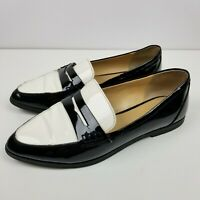 Michael Michael Kors Womens Pointed Connor Penny Loafer Black White Leather Sz 6