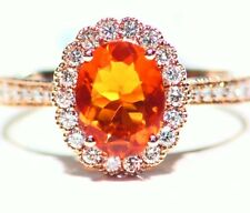 1.52CT 14K Gold Natural Fire Opal White Diamond Vintage Halo Engagement Ring