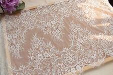 "White Floral Lace Trim Eyelash Lace Scalloped Edges Fabric Tulle 15.74"""