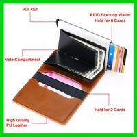 Credit Card Wallet Holder RFID Blocking Anti Theft Aluminum PU Leather 2020 NEW