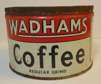 Rare Vintage 1940s WADHAMS COFFEE KEYWIND COFFEE TIN 1 ONE POUND PORTLAND OREGON