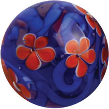 22mm MIDNIGHT GARDEN Orange Flower Handmade Contemporary art glass Marble 7/8""