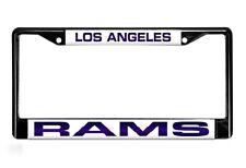 Los Angeles Rams Laser Cut Black Chrome Metal License Plate Frame