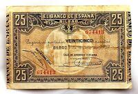 Spain-Guerra Civil. Billete. 25 Pesetas 1937 Bilbao. Circulado