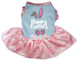 Happy Easter Grey Bunny Blue Top Pink Bunny Tutu Pet Dog Dress Puppy Clothes