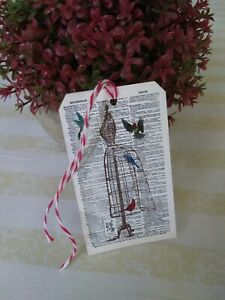 Vintage Dress Form Birds Dictionary Page Tags