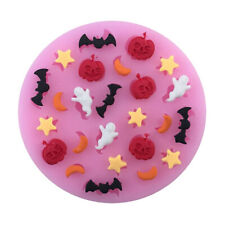 HB- DIY Halloween Pumpkin Ghost Bat Silicone Mold Fondant Cake Biscuit Mould DEN