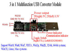 3in1 5V 3.3V Serial Converter Board USB To RS485 RS232 TTL Serial Module CP2102