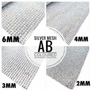 1m Silver Iron on Chaton AB Diamante Strips Crystal Wedding Clothing Decor