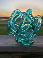 """Beautiful Abstract Blown Glass Knot Sculpture Blue Modern Art 7"""""""