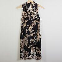KAREN MILLEN Womens Size 8 or US 4 Oriental Chinese Lace Silk Print Dress