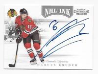 2011-12 Panini autographed hockey card Marcus Kruger, Chicago Blackhawks