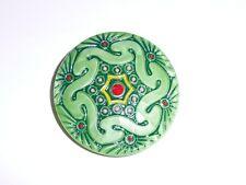 Wonderful Large Green Czech Lacy Glass Shank Button - 41mm diameter
