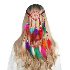 Women Bohemian Headband Dream Catcher Colorful Peacock Feather Festival Headware