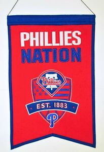 Philadelphia Phillies Wool Nation Banner [NEW] MLB Sign Wall Man Cave Flag