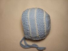 Hand Knitted Newborn Baby Bonnet Hat 0-6 months Blue/White