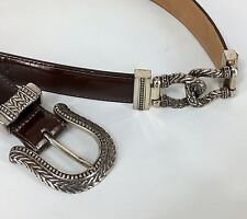 Brighton Brown Leather Belt Western 22309 Engraved Buckle and Links Size Medium