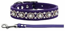 """Purple Fancy Jewel Leather Collar and Matching Leash, 11"""" - 14"""" Neck Size"""