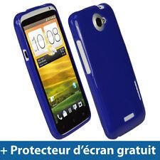Bleu Étui Housse Case Cover Brillant TPU pour HTC One X + Plus S720e Android 1