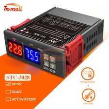 DC12V STC-3028 10A Dual LED Temperature & Humidity Controller Thermostat + Probe