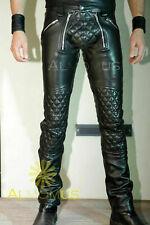 Men's Cowhide Leather Punk Kink Jeans Trousers Jeans BLUF Lederjeans Lederhosen