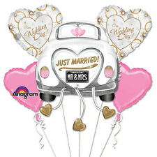 5 PCE WEDDING BOUQUET FOIL BALLOONS CAR HEARTS RECEPTION PARTY DECORATION
