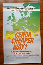 1990 Genoa Cheaper Way British Railways Int. Original Railway Travel Poster