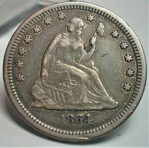 1864 USA Rare Date Seated Liberty Silver Quarter in XF Condition  (415)