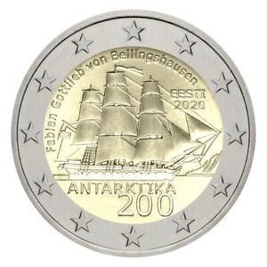 2 Euro 2020 Coin Estonia Discovery of Antarctica UNC From Bank Roll