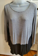 Liz Claiborne Large Gray knit, black rayon Long Sleeve Knit Top Shirt
