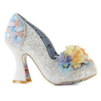 Irregular Choice 2019 Desire White Glitter Floral High Heel Wedding Shoes