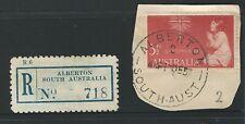 South Australia - Alberton Registration Label & Postmark.