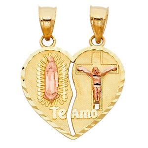 14k Yellow Gold Jesus Virgin Mary Heart Breakable Te Amo Split Charm Pendant