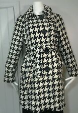 Womens Michael Kors Collection Black & Ivory Houndstooth Top Coat Jacket Size 12