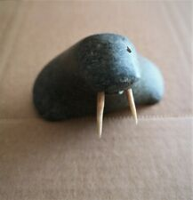Genuine, Vintage Inuit Art Carving of Artic Stone to Reveal a Walrus' Head