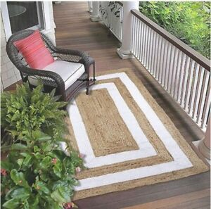 Rug 100% Natural Jute reversible handmade area carpet runner rug outdoor rag rug
