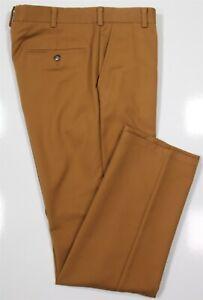 Anthony Mason Bespoke Custom Made Golden Brown Cotton Slim Dress Pants 34 x 30