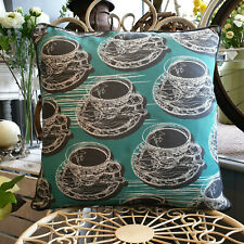 Aqua Teal Double Sided Teacup & Saucer Cushion With Piping  Created by thetinkan