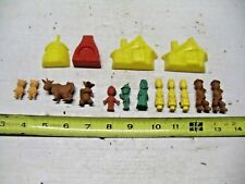 Old Vintage Lot Cake Topper Decoration Set House Family Animals Hard Rubber